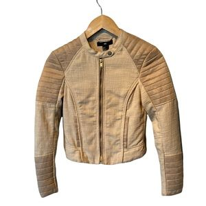 H&M faux suede and tweed cropped moto jacket size 2